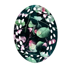Modern Green And Pink Leaves Ornament (Oval Filigree)