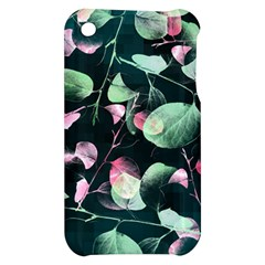 Modern Green And Pink Leaves Apple iPhone 3G/3GS Hardshell Case