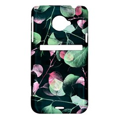 Modern Green And Pink Leaves HTC Evo 4G LTE Hardshell Case