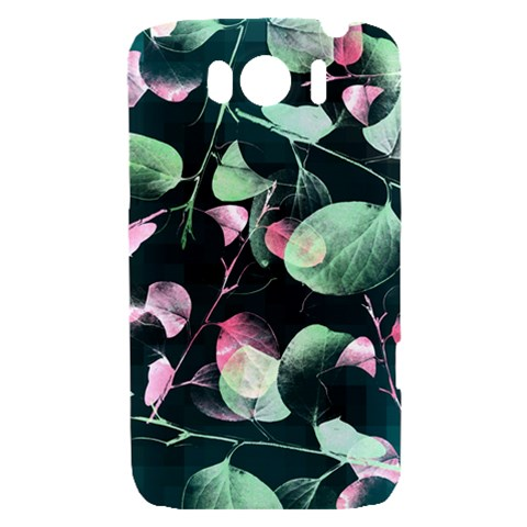 Modern Green And Pink Leaves HTC Sensation XL Hardshell Case