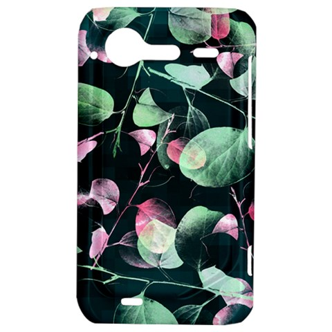 Modern Green And Pink Leaves HTC Incredible S Hardshell Case