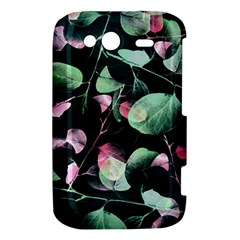 Modern Green And Pink Leaves HTC Wildfire S A510e Hardshell Case
