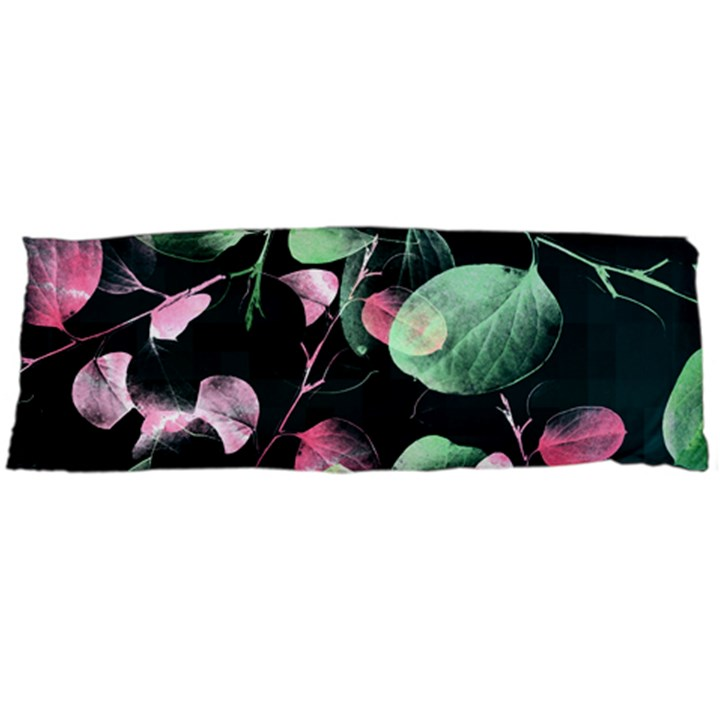 Modern Green And Pink Leaves Body Pillow Case Dakimakura (Two Sides)