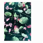 Modern Green And Pink Leaves Small Garden Flag (Two Sides) Back
