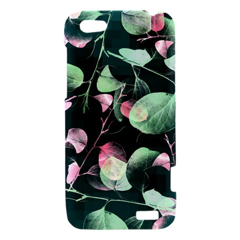 Modern Green And Pink Leaves HTC One V Hardshell Case