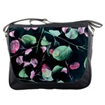 Modern Green And Pink Leaves Messenger Bags Front