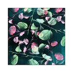 Modern Green And Pink Leaves Acrylic Tangram Puzzle (6  x 6 ) Front