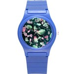 Modern Green And Pink Leaves Round Plastic Sport Watch (S) Front