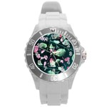 Modern Green And Pink Leaves Round Plastic Sport Watch (L) Front