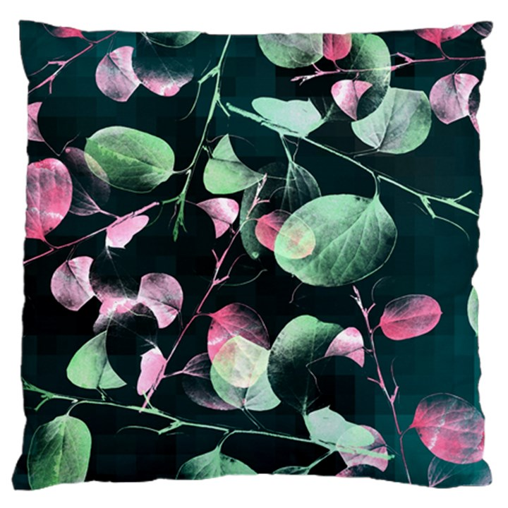 Modern Green And Pink Leaves Large Cushion Case (Two Sides)