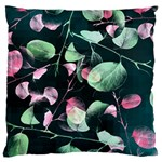 Modern Green And Pink Leaves Large Cushion Case (Two Sides) Back