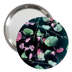 Modern Green And Pink Leaves 3  Handbag Mirrors