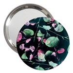 Modern Green And Pink Leaves 3  Handbag Mirrors Front
