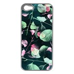Modern Green And Pink Leaves Apple iPhone 5 Case (Silver) Front