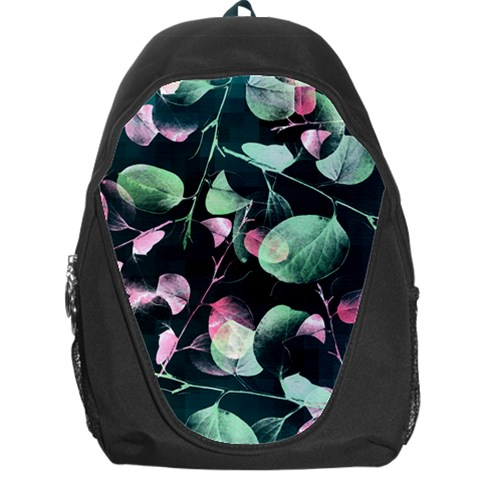 Modern Green And Pink Leaves Backpack Bag