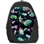 Modern Green And Pink Leaves Backpack Bag Front