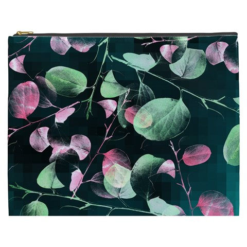Modern Green And Pink Leaves Cosmetic Bag (XXXL)
