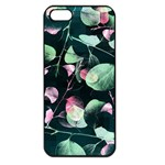 Modern Green And Pink Leaves Apple iPhone 5 Seamless Case (Black) Front
