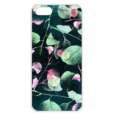 Modern Green And Pink Leaves Apple Iphone 5 Seamless Case (white)