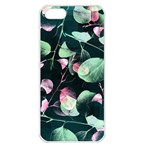 Modern Green And Pink Leaves Apple iPhone 5 Seamless Case (White) Front