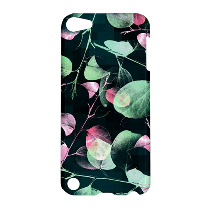 Modern Green And Pink Leaves Apple iPod Touch 5 Hardshell Case
