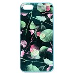 Modern Green And Pink Leaves Apple Seamless iPhone 5 Case (Color) Front