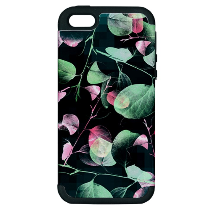Modern Green And Pink Leaves Apple iPhone 5 Hardshell Case (PC+Silicone)
