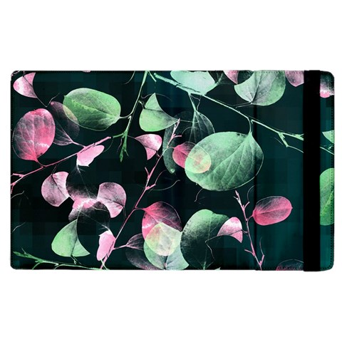 Modern Green And Pink Leaves Apple iPad 2 Flip Case