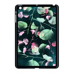 Modern Green And Pink Leaves Apple iPad Mini Case (Black)