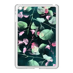 Modern Green And Pink Leaves Apple Ipad Mini Case (white)