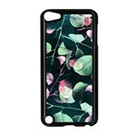 Modern Green And Pink Leaves Apple iPod Touch 5 Case (Black) Front