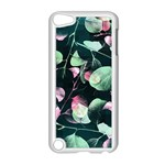 Modern Green And Pink Leaves Apple iPod Touch 5 Case (White) Front