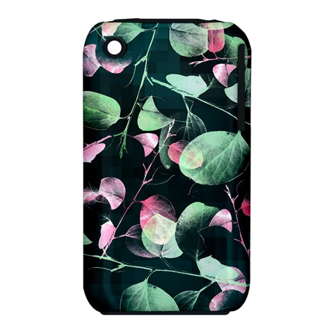 Modern Green And Pink Leaves Apple iPhone 3G/3GS Hardshell Case (PC+Silicone)
