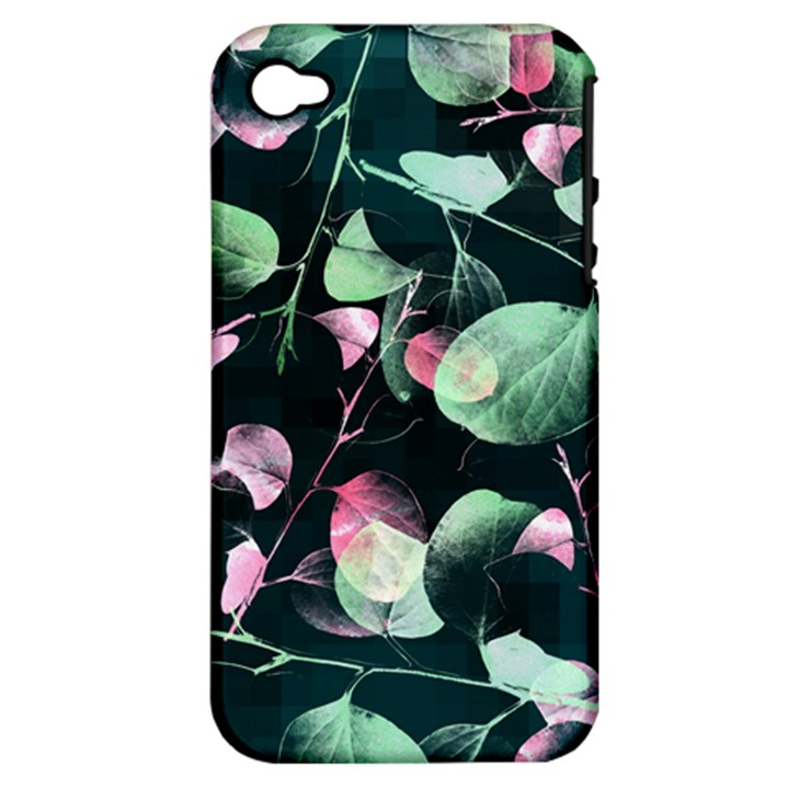 Modern Green And Pink Leaves Apple iPhone 4/4S Hardshell Case (PC+Silicone)