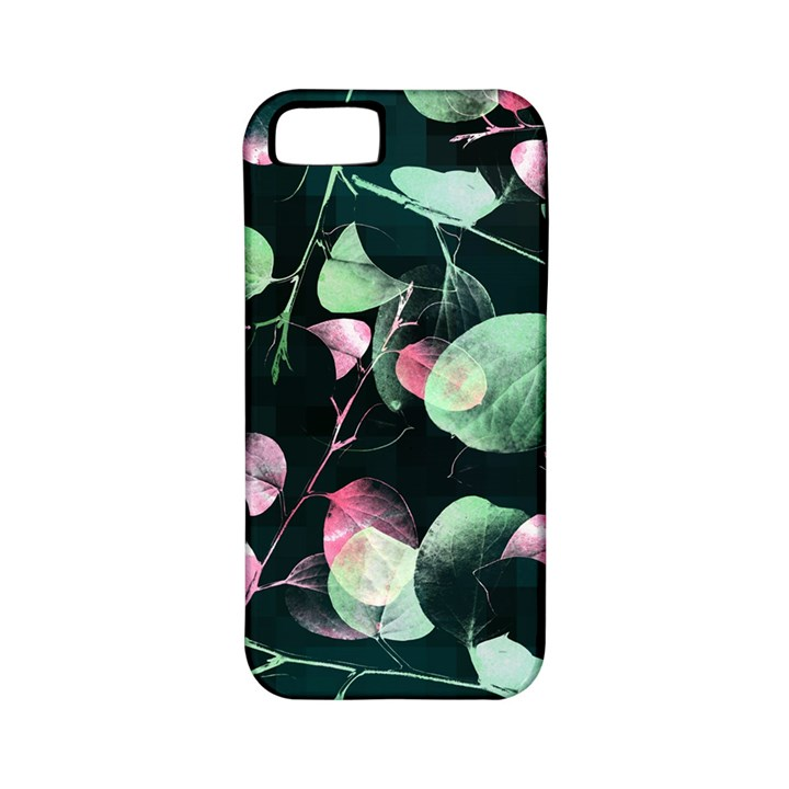 Modern Green And Pink Leaves Apple iPhone 5 Classic Hardshell Case (PC+Silicone)