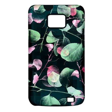 Modern Green And Pink Leaves Samsung Galaxy S II i9100 Hardshell Case (PC+Silicone)
