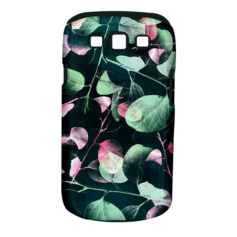 Modern Green And Pink Leaves Samsung Galaxy S III Classic Hardshell Case (PC+Silicone)