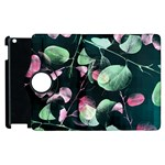Modern Green And Pink Leaves Apple iPad 2 Flip 360 Case Front