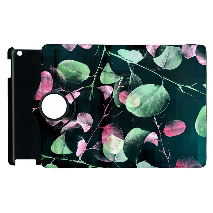 Modern Green And Pink Leaves Apple iPad 2 Flip 360 Case
