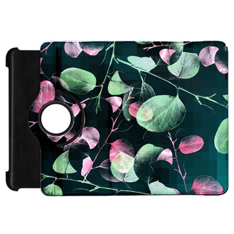 Modern Green And Pink Leaves Kindle Fire HD Flip 360 Case