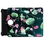 Modern Green And Pink Leaves Kindle Fire HD Flip 360 Case Front