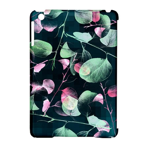 Modern Green And Pink Leaves Apple iPad Mini Hardshell Case (Compatible with Smart Cover)