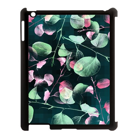 Modern Green And Pink Leaves Apple iPad 3/4 Case (Black)
