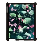 Modern Green And Pink Leaves Apple iPad 3/4 Case (Black) Front