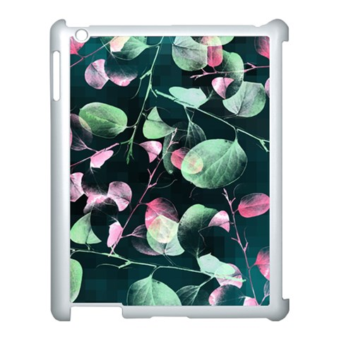 Modern Green And Pink Leaves Apple iPad 3/4 Case (White)