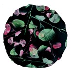 Modern Green And Pink Leaves Large 18  Premium Round Cushions Back