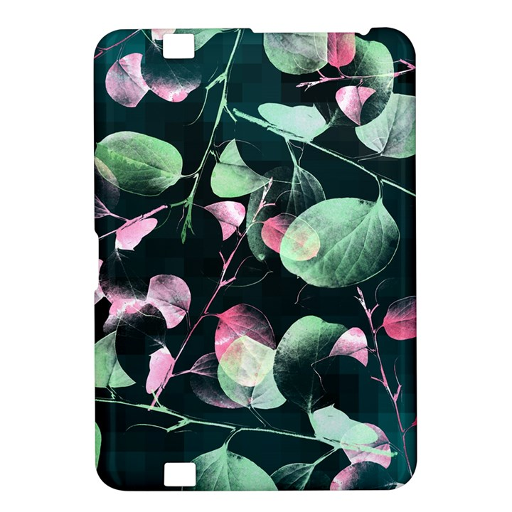 Modern Green And Pink Leaves Kindle Fire HD 8.9