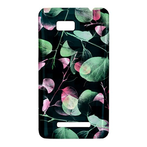 Modern Green And Pink Leaves HTC One SU T528W Hardshell Case