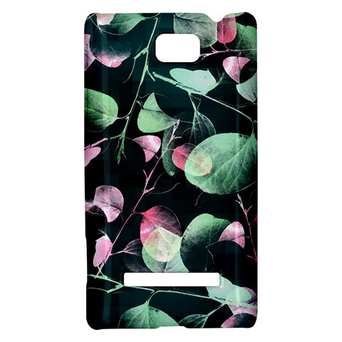 Modern Green And Pink Leaves HTC 8S Hardshell Case