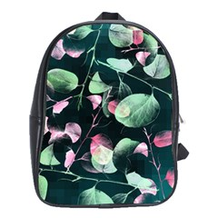 Modern Green And Pink Leaves School Bags (xl)